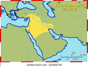 Original hand drawn map. The New Babylonian Empire in 625-539 B.C. It covered an area of what is today Syria, Jordan, Israel, Iraq and Turkey.