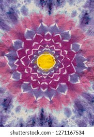 Original Handmade Colorful Lotus Flower Psychedelic Tie Dye Shirt Design