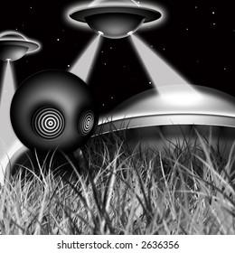 Original illustration of alien ships landing at night.