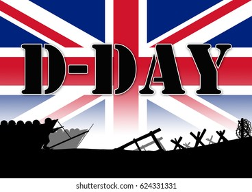 Original illustration of the allied D-Day invasion of Europe in 1944. UK Flag background
