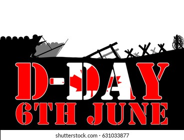 Original illustration of the allied D-Day invasion of Europe in 1944. Canadian Flag in text.