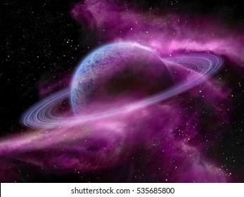 Original illustration of a fantasy space scene. Nebula and alien planets.