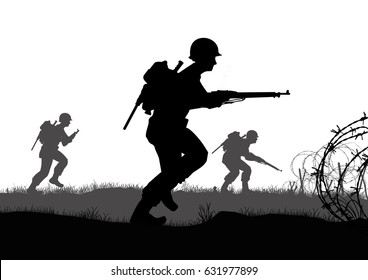 Original illustration. US Infantry soldiers fight a battle in Europe during World War 2.
