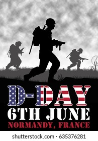 Original illustration. US Infantry soldiers fight a battle in Europe during World War 2. D-Day was on June 6 1944
