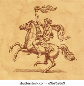 Original ink and pen drawing illustration, horse rider with a torch on brown background.