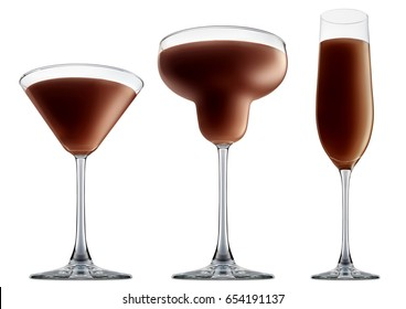 Original Irish Cream Liqueuron alcohol cocktail or chocolate mocktail in classic margaritta, martini, champagne with brown beverage isolated on white background