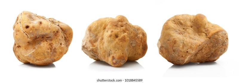 original italian white truffles on white background