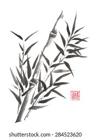 Original Japanese style original sumi-e bamboo ink painting