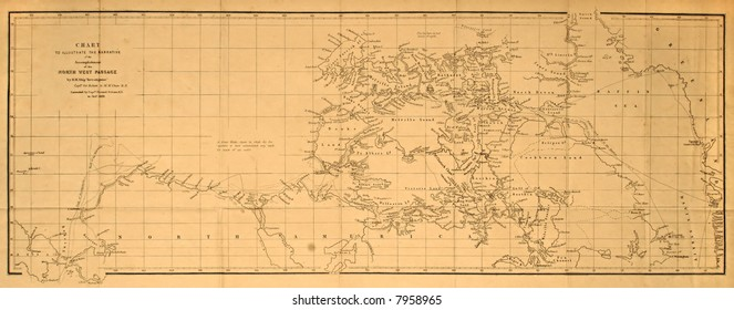 Original map of the first crossing of the Arctic's Northwest Passage by Sir Robert McClure in 1859.