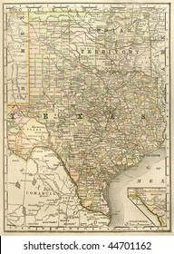 "Original map of Texas with Oklahoma as ""Indian Territory"", dated 1889."