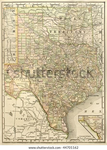 Original Map Texas Oklahoma Indian Territory Stock Photo ...