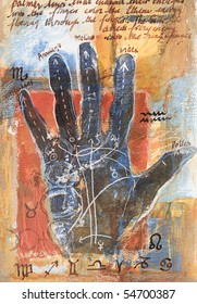 Original mixed media painting with hand palm up marked with palmistry symbols and handwritten text. Painted by the photographer.