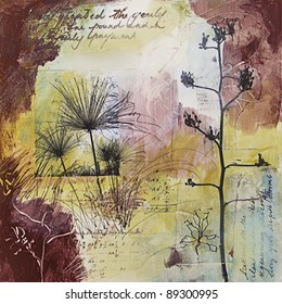Original mixed media painting with images of seed heads and handwritten text. All elements in this art piece were created by the photographer