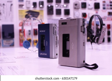 An original model Sony Walkman displayed with the Pressman, the forerunner to Walkman, in the foreground. Photo taken at the 'It's a Sony' exhibition in the Sony Building in Ginza, Tokyo, 2017.