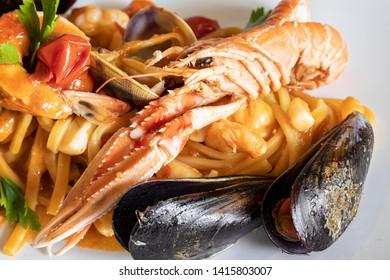 Original Neapolitan Scialatielli with prawn and seafood.