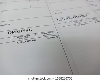 Original and Non Negotiable Bill of Lading or B/L is a document issued by a carrier (or their agent) to acknowledge receipt of cargo for shipment.