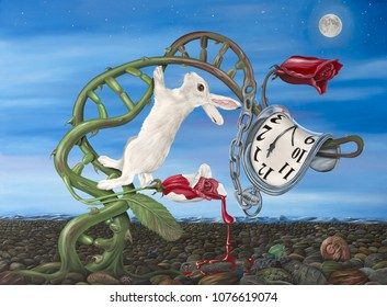 Original oil on canvas painting of a White Rabbit and Melting Watch