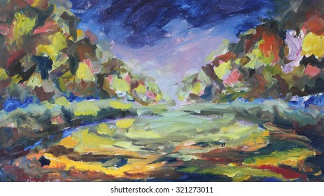 Original oil painting abstract Painting. Night city on canvas. Impasto artwork. Impressionism art.