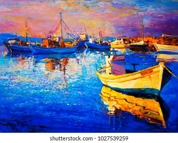 Original oil painting of a beautiful boat. Modern art.