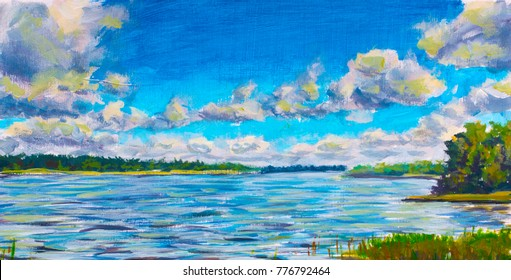 Original oil painting Beautiful purple river, Large clouds against blue sky, green river banks. Landscape is summer on the water. Nature. Russian lake. impressionism painting.