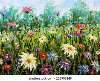 Original oil painting of flowers, beautiful looming field on canvas. Wildflowers. Modern Impressionism. Impasto artwork.