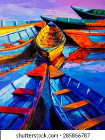 Original Oil Painting on Canvas. Boats and sea. Modern impressionism by Nikolov