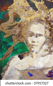 original oil painting on canvas for giclee, background or concept.pop portrait of womans face