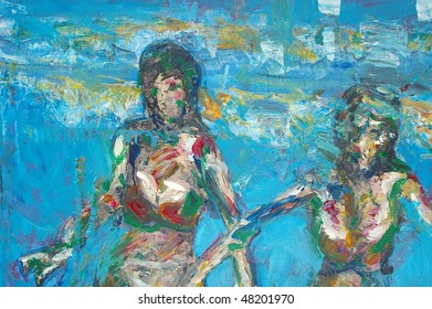 original oil painting on canvas for giclee, background or concept.impressionist broad stroke painting of person in ocean