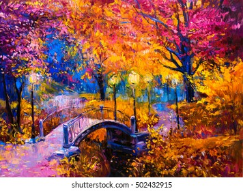 Original Oil Painting on canvas - colorful autumn painting -Modern impressionism