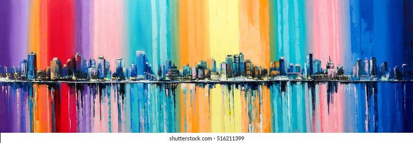 """Original oil painting on canvas """"The longest day"""". A fantasy coastal city with a rainbow on a background"""