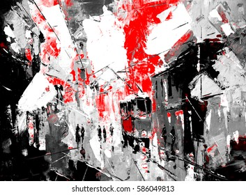 an original oil painting on canvas cubism style, part of cubism landscapes collection, just an ordinary day in the city, urban, city life, sin city inspiration - black and red color