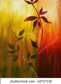 Original oil painting on canvas of autumn leaves on warm fall background