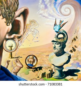 Original oil painting on canvas. In the style of Surrealism. The picture in full size
