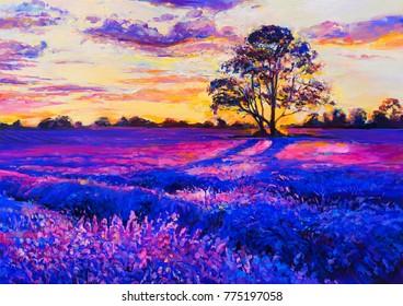 Original oil painting on canvas. Lavender landscape. Modern art.