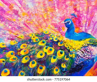 Original oil painting on canvas. Colorful peacock. Modern art.