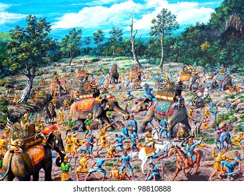 original oil painting on canvas - ancient battle between Thai and Burmese