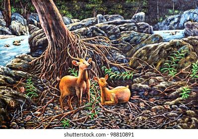 original oil painting on canvas - Deers in the forest