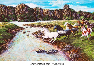 Original oil painting on canvas - horses in the forest