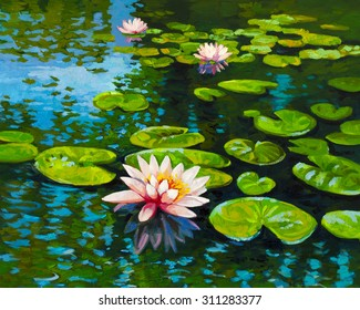 Original oil painting on canvas.Modern art.Beautiful water lilies and reflections.Painted by Velin Iliev.