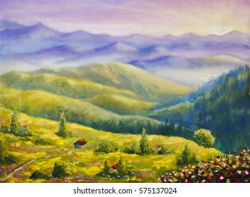 Original oil painting of rustic house on a hill in the mountains on canvas. Modern Impressionism Art. Artwork.