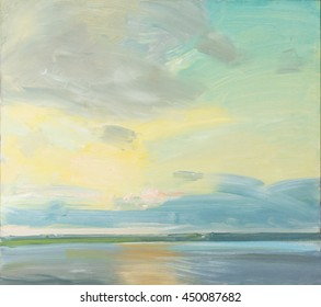 Original oil painting of a sunset over a lake