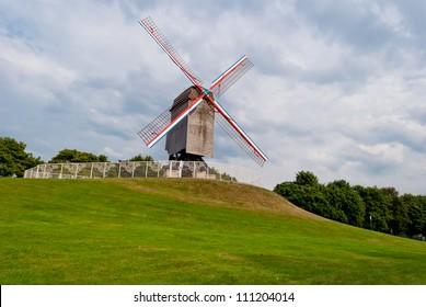 Original old windmill in Bruges, Belgium