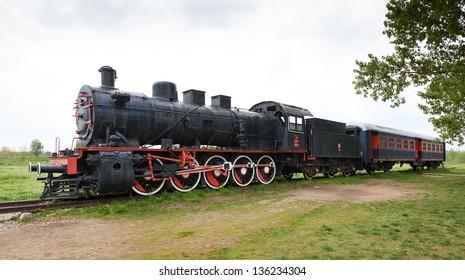 Original passengers steam-power train from the Orient Express era at the old railway station in Edirne, Turkey.