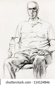 Original pastel  or drawing charcoal, and  hand drawn painting or  working  sketch of a man sitting in a chair.Free composition