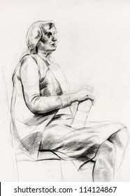 Original pastel  or drawing charcoal, and  hand drawn painting or  working  sketch of a woman sitting in a chair.Free composition