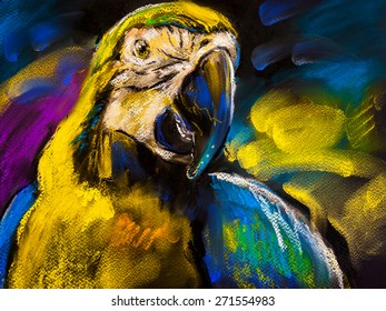 Original pastel painting on cardboard. Modern painting of a Beautiful parrot