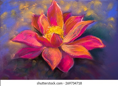 Original pastel painting on cardboard.Modern painting of beautiful Lily