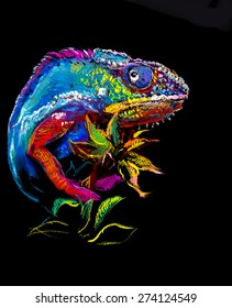 Original pastel panting on paper. Colorful chameleon with plant plant on black background