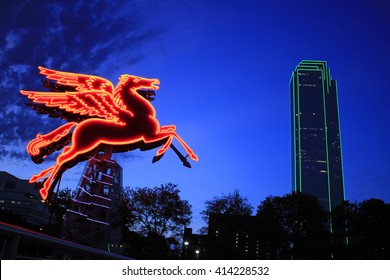 ORIGINAL PEGASUS FIGURE, DALLAS: The Pegasus built in 1934 and seen on top of the Magnolia Building was taken down in 1999. Now it is restored and placed in front of the Omni Hotel. Dallas TX, 2016.
