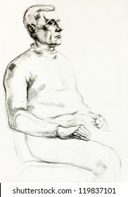 Original pencil  or drawing charcoal, and  hand drawn painting or  working  sketch of a man sitting in a chair.Free composition